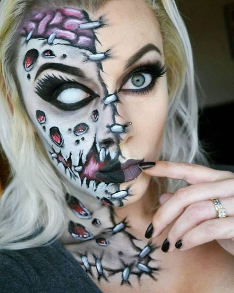 Half Face Halloween Makeup