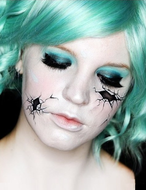 Broken Doll Halloween Makeup