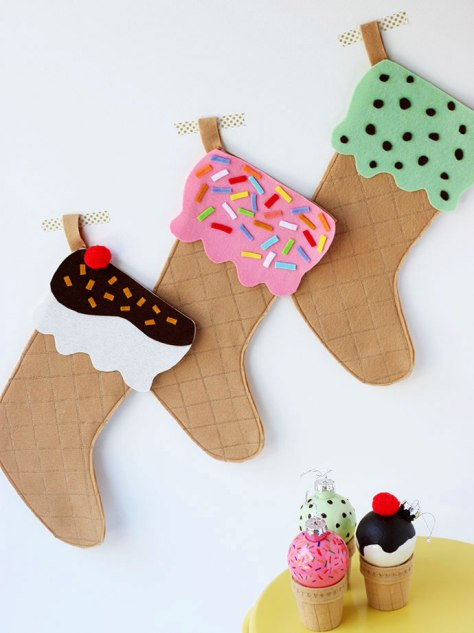 Ice Cream Cone Christmas Stocking