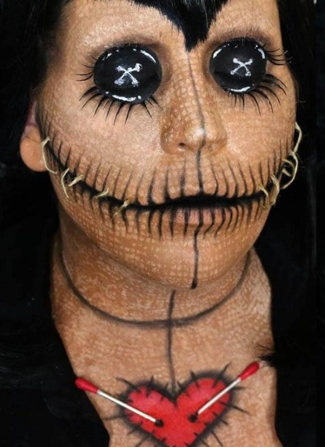 Voodoo Doll Halloween Makeup