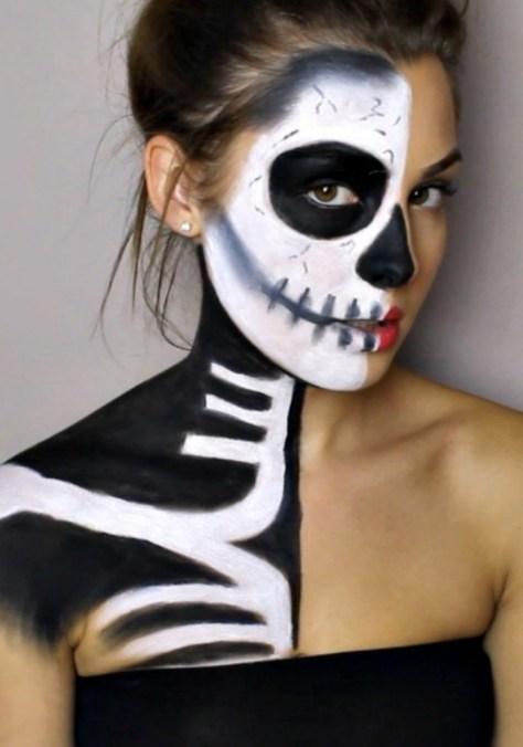 Half Skeleton Half Glamour Halloween Makeup