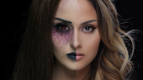 Half Face Vampire Halloween Makeup