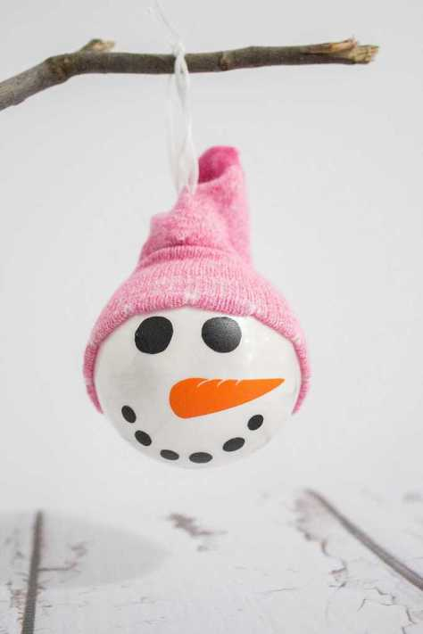 Snowman Ornament With A Sock Hat
