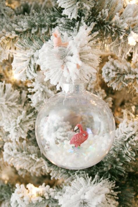 Flamingo Snow Globe Ornament