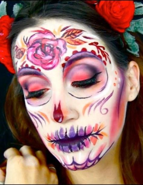 Psychedelic Sugar Skull Halloween Makeup