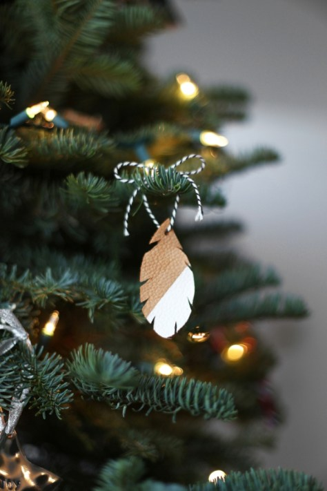 Leather Feather Ornaments