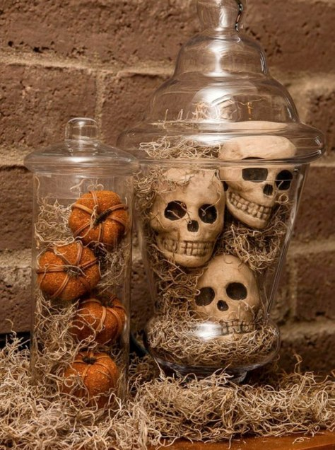 Spanish Moss Apothecary Jars Decoration