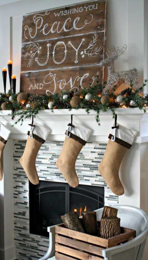 Rustic Fireplace Decoration