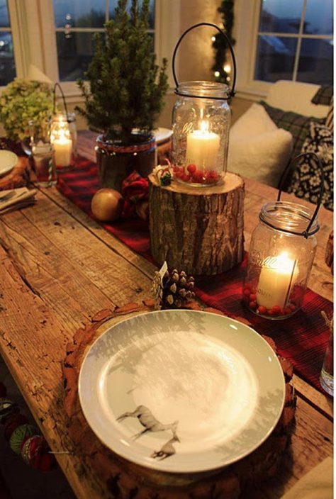 Mason Jar Rustic Table Decoration