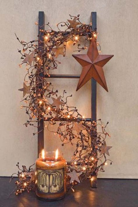 Rustic Ladder Lights Decoration