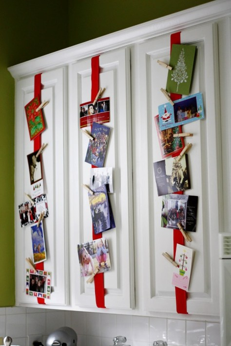 Christmas Card Display on Kitchen Cabinets