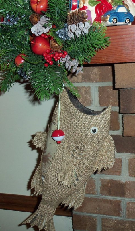 Burlap Christmas Stocking Fish