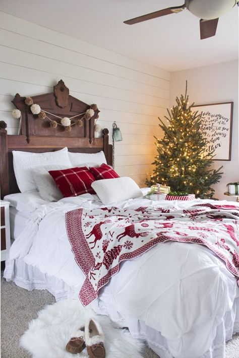White and Red Christmas Bedroom