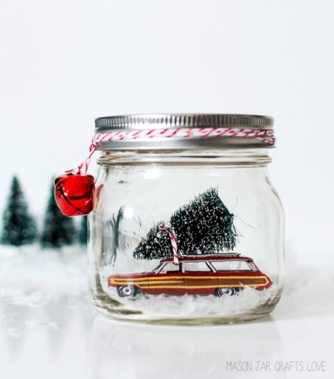 Car in Mason Jar Snow Globe