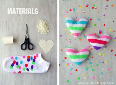 Rainbow Sock Hearts
