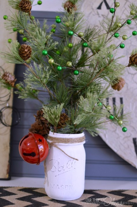 Pine Christmas Mason Jar Decor