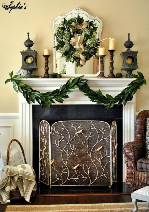 Mantel Decor with Magnolia Leaves Garland