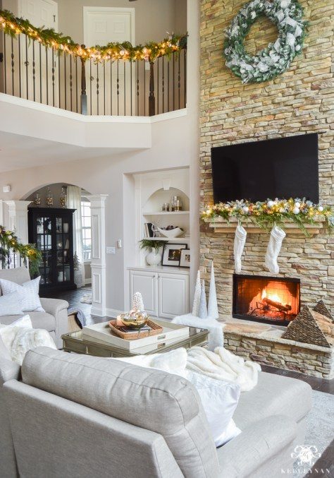 Stacked Stone Christmas Fireplace