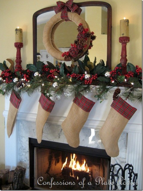 Burlap and Plaid Mantel