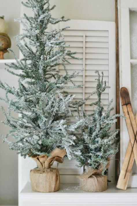 Flocked Tabletop Pine Christmas Trees