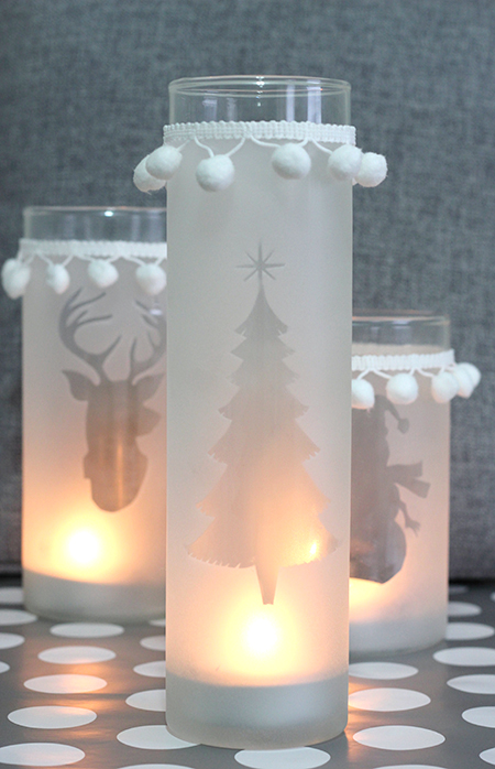 Frosted Glass Christmas Candle