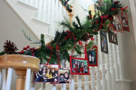 Staircase Decorated With Card and Photo Garland