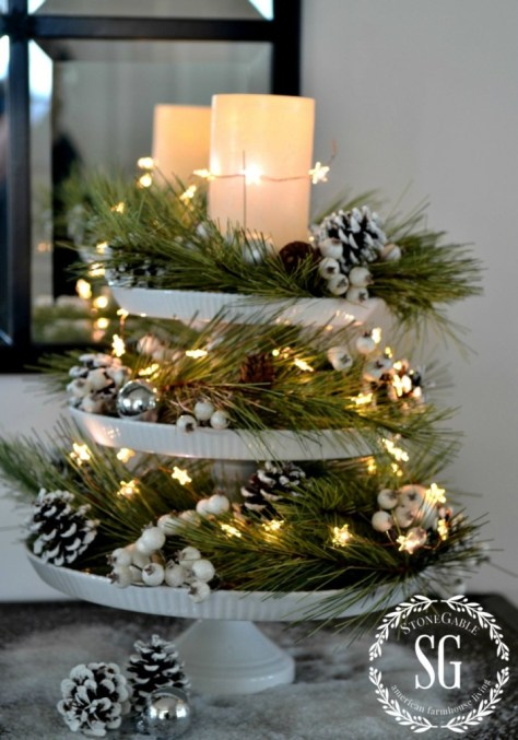 Christmas Lights With Cake Plates
