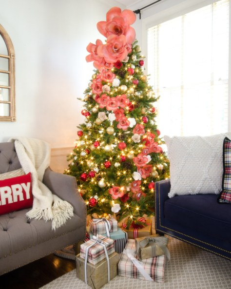 Faux Christmas Tree With Paper Flowers