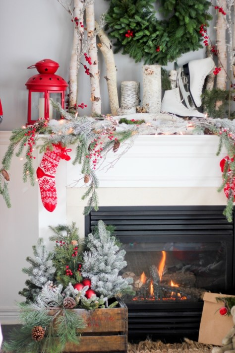 Christmas Decor with Wooden Ladder