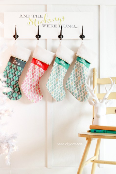 Stenciled Wall Mounted Stocking Holder