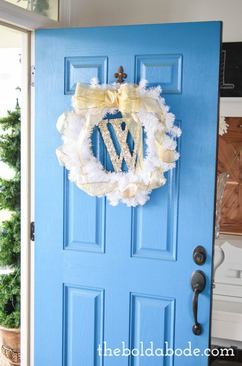 Glittery Monogram White and Gold Wreath