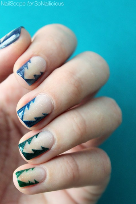 Reverse Christmas Tree Nails Art