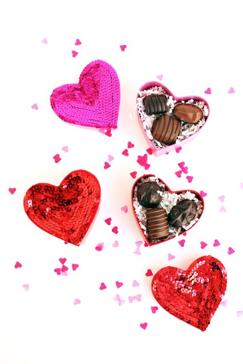 Sequined Heart Box Filled With Chocolate