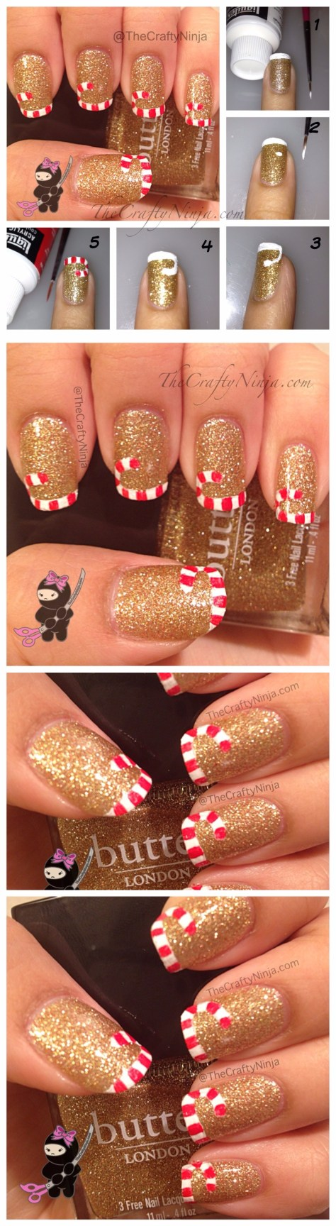 Candy Cane French Nails