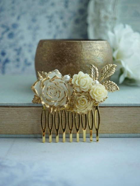 Gold Cream Flower Comb