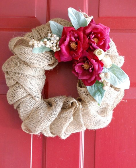 Burlap Christmas Wreath With Flowers
