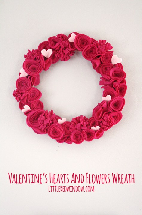 Valentine's Hearts and Flowers Felt Wreath