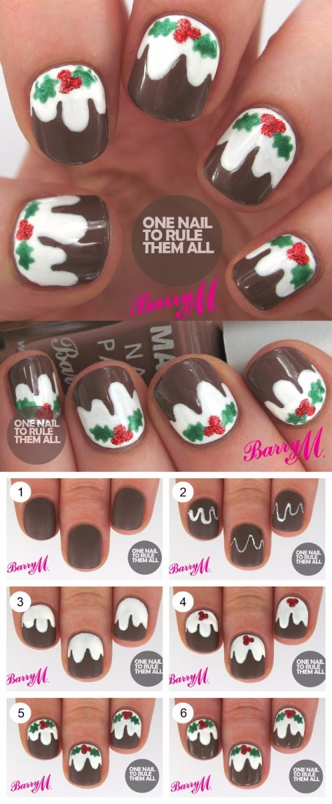 Christmas Pudding Nails Art