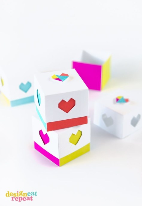 Color Blocked Printable Heart Boxes