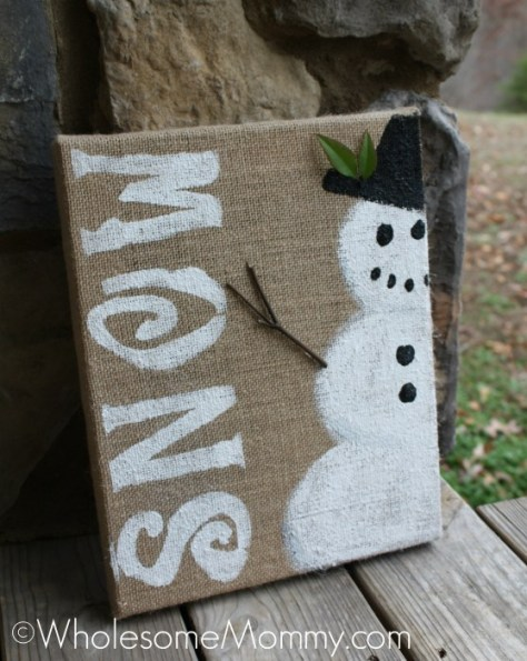 Burlap Snowman Decor