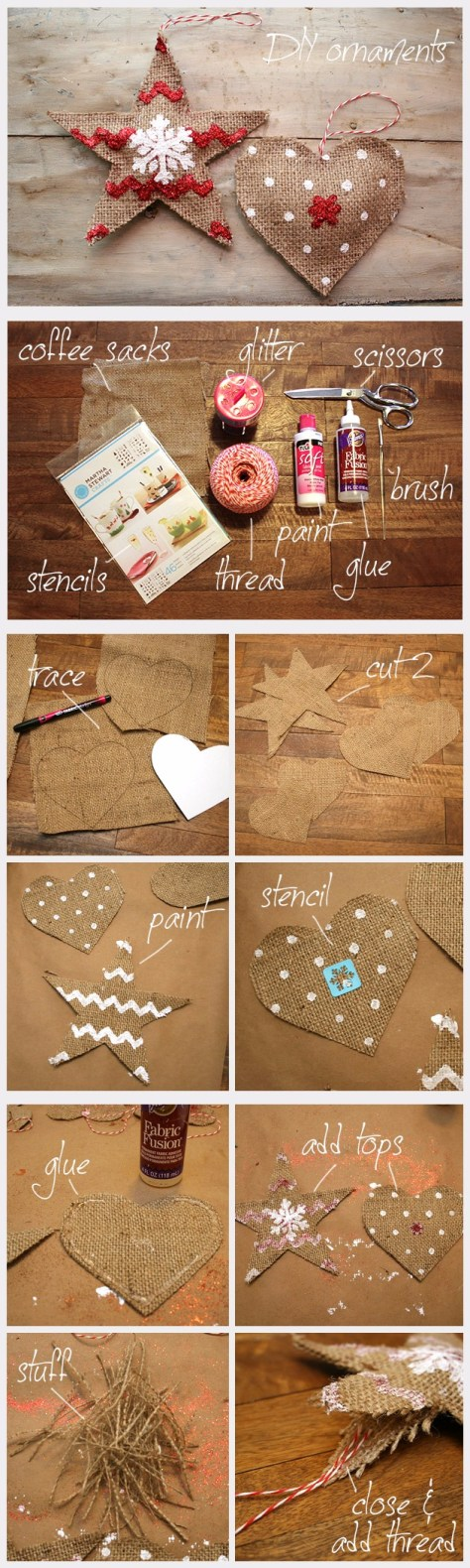 Country Burlap Ornaments