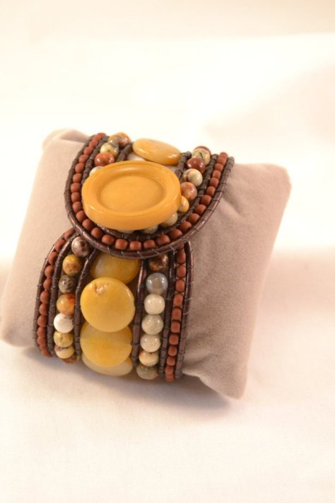 Boho Leather Wrap Cuff