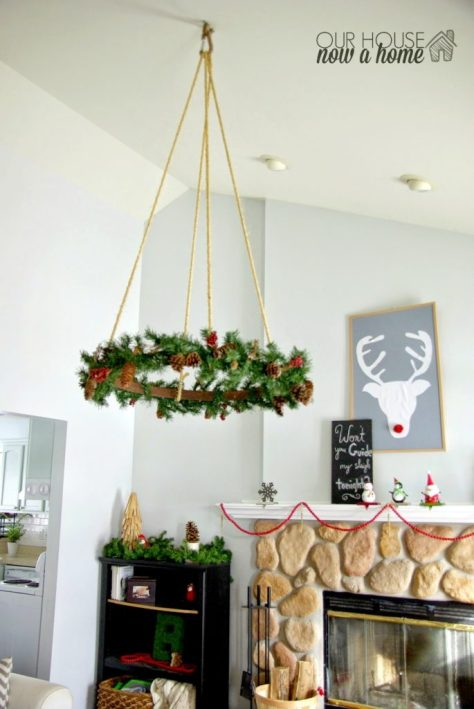 Living Room with Hanging Wreath