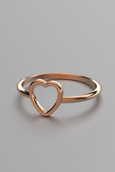 Solid Rose Gold Heart Ring