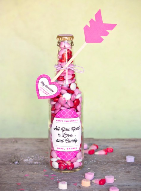 Valentine Candy Bottles & DIY Heart Arrows