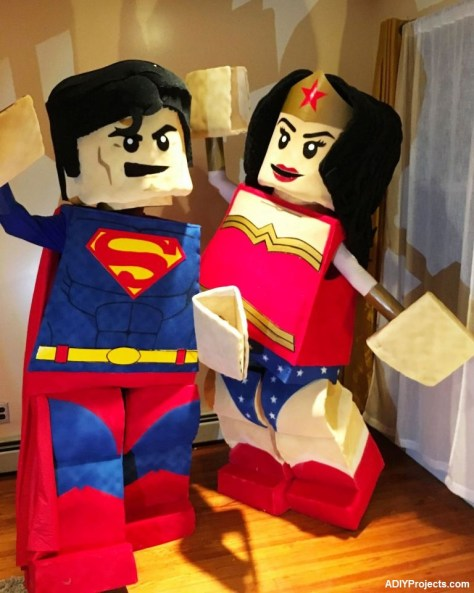 Beautiful LEGO Superman and Wonder Woman Couple Halloween Costumes