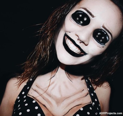 Excited creepy doll makeup halloween costume can help