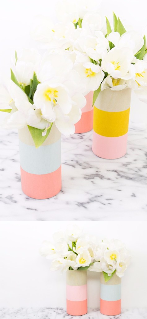 DIY Colorblocked Wood Vases