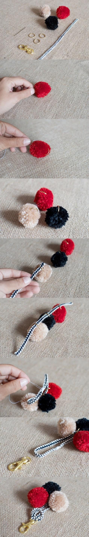 DIY Pom Pom Bag Charm