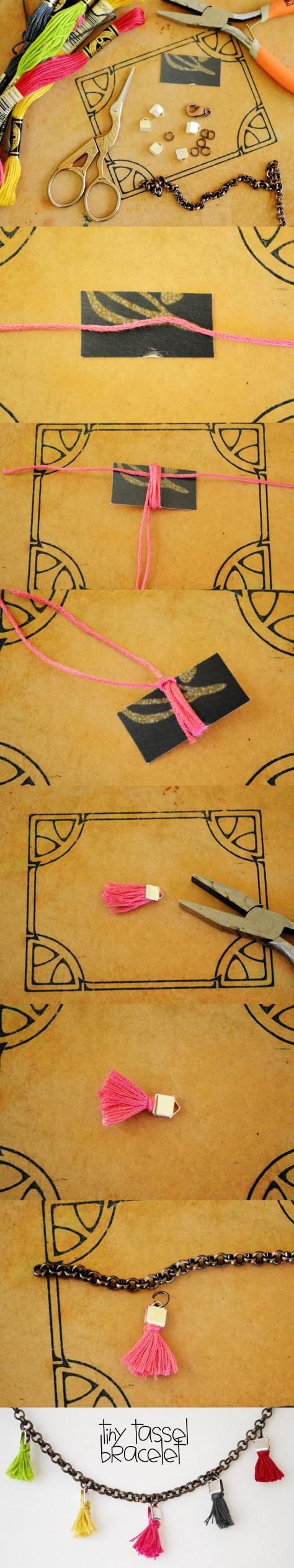 DIY Tiny Tassel Bracelet